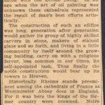 Parker, John F cathedral at Rheims France circa 1921 article